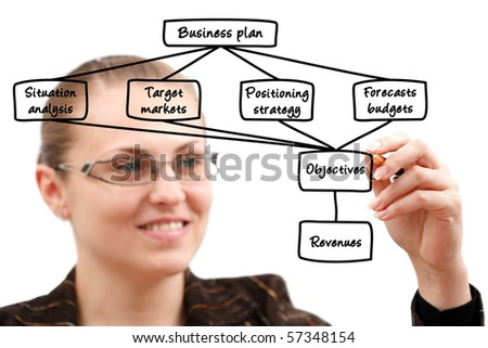 A young attractive businesswoman drawing a plan - stock photo