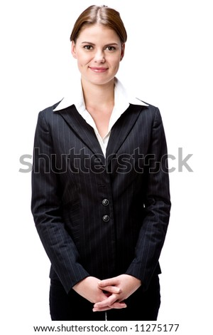 A young attractive businesswoman on white background - stock photo