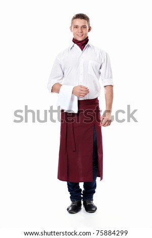 A young attractive waiter on a white background