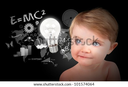 A young baby is looking at a light bulb with math, science and physics icons on a black background. Use it for a education or learning concept. - stock photo