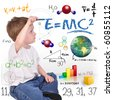 A young boy child is writing out math and science equations and formulas. He is sitting on the floor on a white background. Use it for a school, study or learning concept. - stock vector