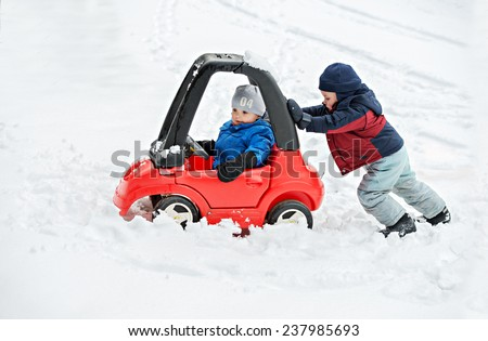 Front Wheel Drive Car Stuck In Snow