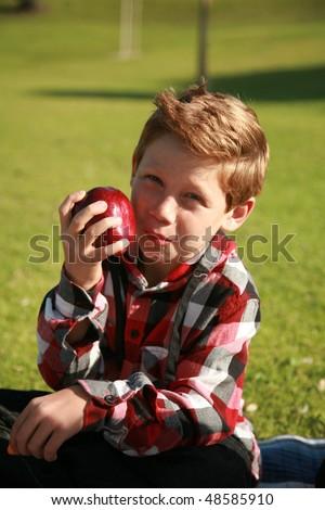 a young boy enjoys an apple while on a picnic - stock photo
