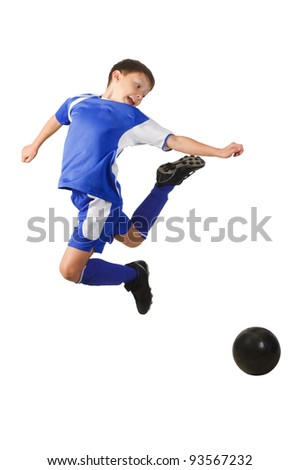 A young boy football player in blue uniform isolated on white - stock photo