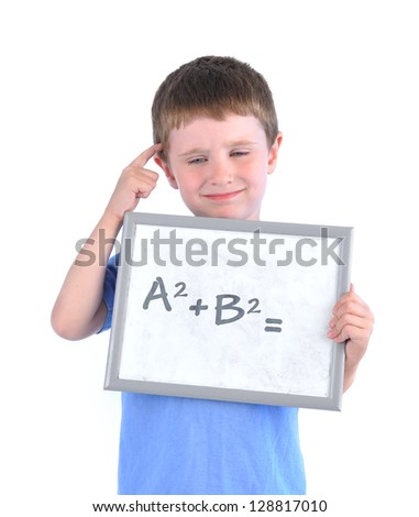 A young boy has a math formula on a board with a blank answer and he is thinking about it on a white isolated background.
