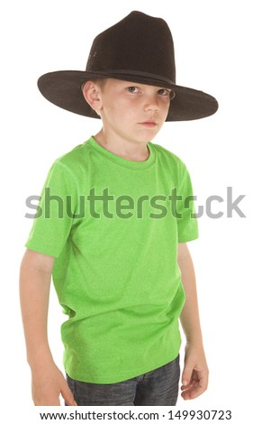 A young boy in a green shirt and a cowboy hat.