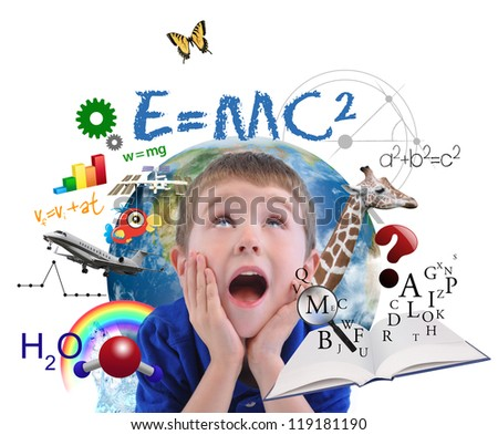 A young boy is looking up at different science, math and physics icons around him on a white background. Use it for a school or learning concept. - stock photo
