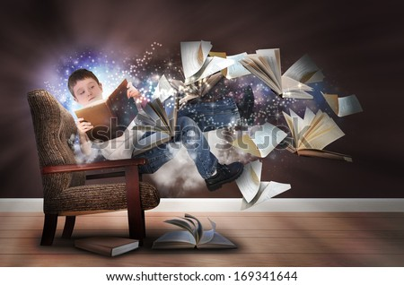 A young boy is reading a book floating in space with glowing stars. There are books and paper flying up around him for an education concept.  - stock photo
