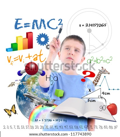 A young boy is writing on a white background with different science, math and physics icons around him. Use it for a school or learning concept. - stock photo