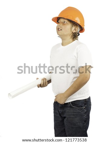 A young boy isolated on white in a hard hat holding building plans - stock photo