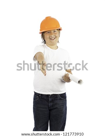 A young boy isolated on white in a hard hat with his hand outstretched - stock photo