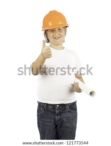 A young boy isolated on white in a hard hat with his thumb up - stock photo
