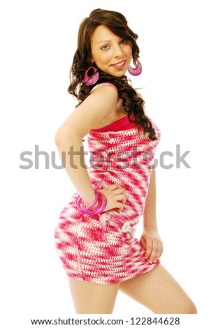 A young brunette in red and white - 149 - stock photo