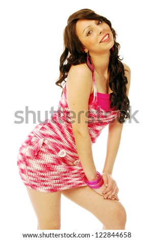 A young brunette in red and white - 146 - stock photo
