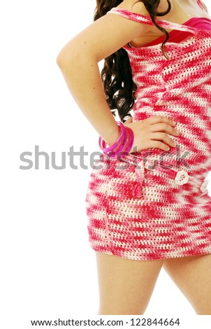 A young brunette in red and white - 175 - stock photo