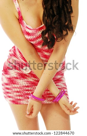 A young brunette in red and white - 137 - stock photo