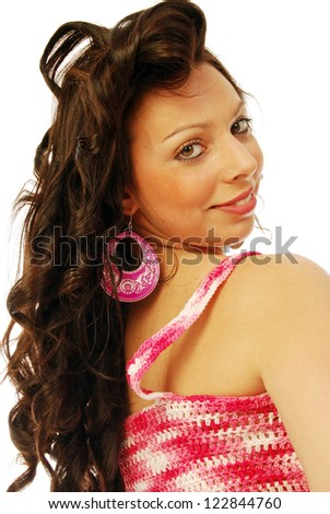A young brunette in red and white - 120 - stock photo