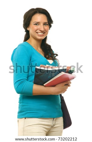 A young brunette woman (student) with books looking up