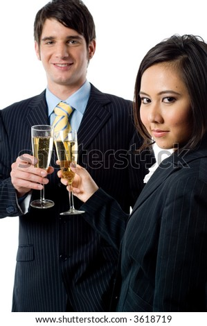 A young businessman and female colleague celebrate their success on white background