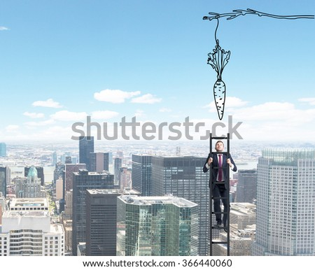A young businessman climbing a ladder  trying to reach a painted carrot hanging from above. C�¸�¥�­ view background. Concept of reaching an aim. - stock photo