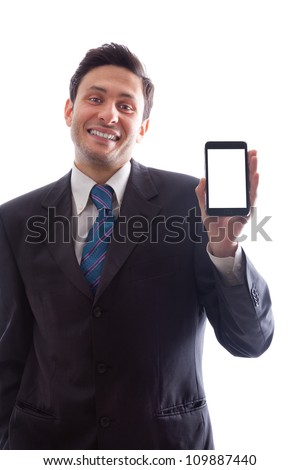 A young Businessman holding a smartphone with blank screen isolated on a white background - stock photo