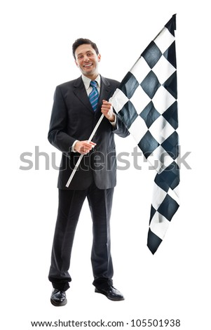A Young Businessman isolated on a white background holding a checkered flag and smiling - stock photo