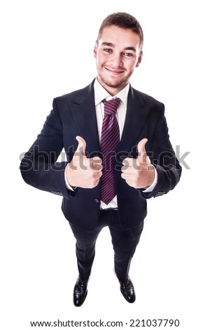 a young businessman making the thumbs up gesture isolated over a white background - stock photo
