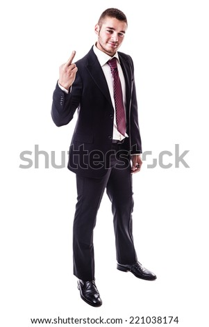 a young businessman showing the middle finger in a rude gesture isolated over a white background