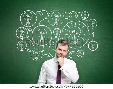A young businessman with a hand on his chin standing, many bulbs of different sizes drawn behind him. Front view. Green background. Concept of having an idea.