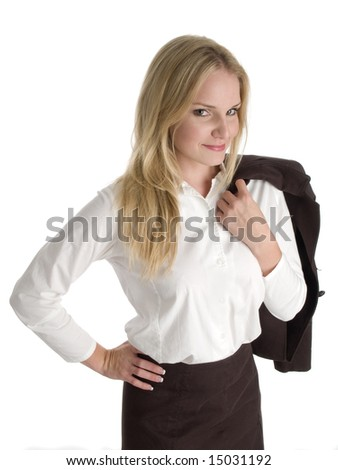 A young businesswoman holds a jacket over her shoulder