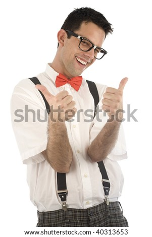 A young, caucasian nerd, with thumbs-up, isolated on a white background. - stock photo