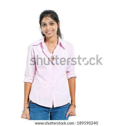 A Young Cheerful Indian Woman - stock photo