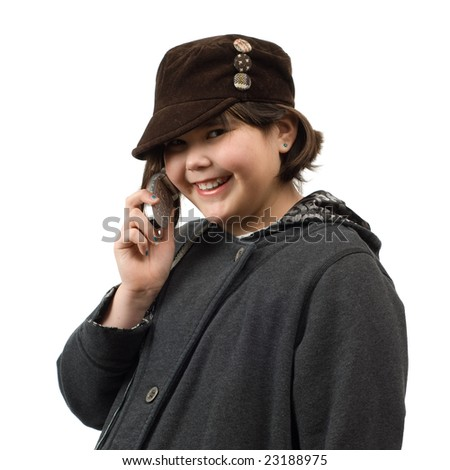 A young child having a phone conversation, isolated against a white background