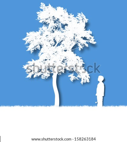 A young child is growing an isolated white tree on a blue background for a growth, time or dream concept. - stock photo