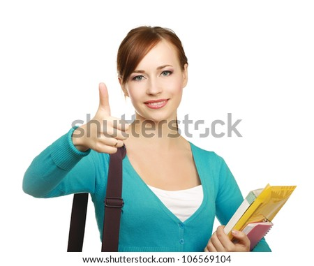 A young college girl showing ok, isolated on white background - stock photo