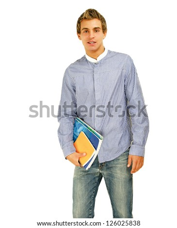 A young college guy with books, isolated on white background - stock photo