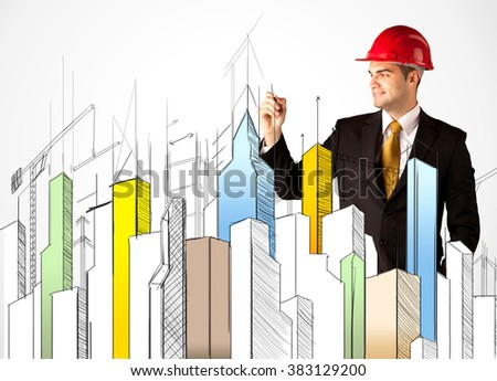 A young construction site worker in a red safety helmet happily sketching a colorful city sight, drawing lines, arrows, angles, cranes buildings with a pen in his hand - stock photo