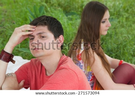A young couple between 20 and 30 has a quarrel - stock photo