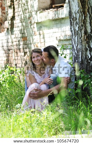 a young couple in love outdoors