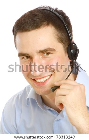 A young customer service guy working