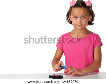 A young diabetic girl appears sparkling although having to test her sugar on a daily basis. - stock photo