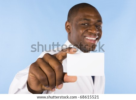 A young doctor showing his business card