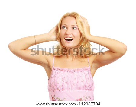 A young emotional woman, isolated on white background\ - stock photo
