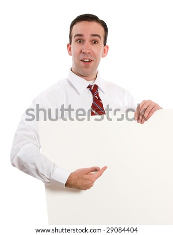 A young employee holding a white sheet of paper and pointing to your text
