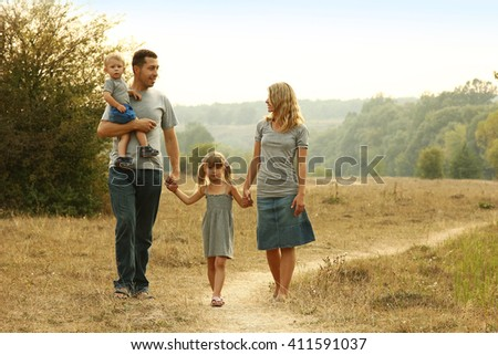 a young family on the nature