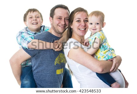 A Young family with two kids in studio