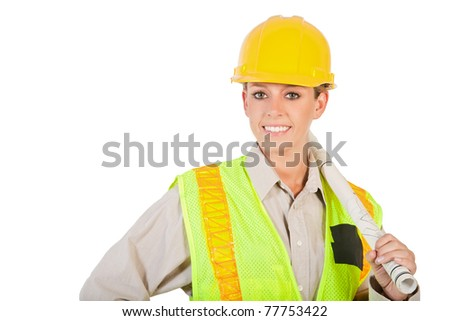 a young female construction worker holding blueprints