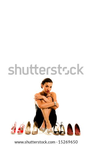 A young female model, photographed in the studio. - stock photo