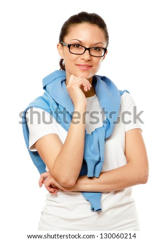 A young female student thinking, isolated on white background
