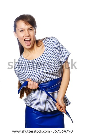a young funny woman  isolated on a white background - stock photo